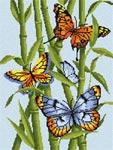 Бесплатная схема  для вышивки крестом Бабочки и бамбук
