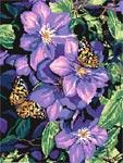 Бесплатная схема  для вышивки крестом Клематис и бабочки