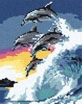 Бесплатная схема для вышивки крестом Дельфины на закате