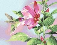 Бесплатная схема  для вышивки крестом Гибискус и колибри