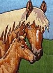 Бесплатная схема для вышивки крестом Лошадь с жеребенком