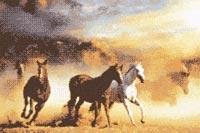 Бесплатная схема  для вышивки крестом Лошади и закат