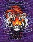 Бесплатная схема  для вышивки крестом Плывущий тигр