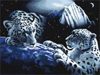 Бесплатная схема для вышивания крестиком Снежные леопарды - Мир на земле