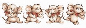 Бесплатная схема  для вышивки крестом Makiko - Animal Fun Time 2 <br /> / Веселые мышата /
