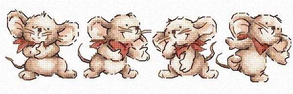 Схемы вышивки крестом мышат