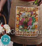 Вышивка крестом Фартук с цветами