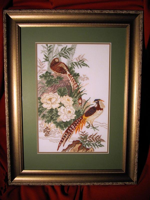 """Вышитая картина """"Два фазана"""""""