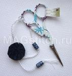 Мулине dmc Голубые ножницы-цапельки с украшением подвеской