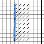выполнение вертикального стежка. шаг 1