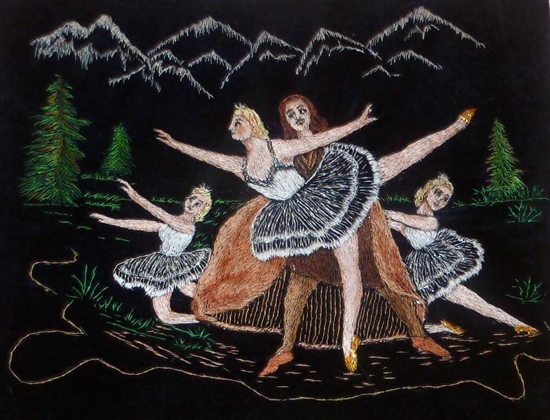 Балет, Вышитая картина гладью
