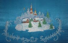 Вышитая картина гладью Зимний пейзаж с церковью
