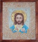 Вышивка гладью Икона Иисус благославляющий