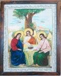 Вышивка гладью Икона Святая Троица