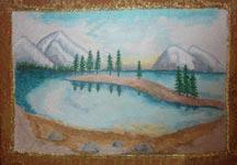 Вышитая картина гладью Озеро