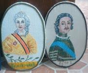 Вышивка гладью Портрет Екатерины II и Петра I