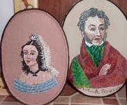 Вышивка гладью портрет Пушкина и Гончаровой