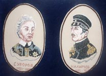 Вышивка гладью Портрет Суворова и Нахимова