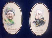Вышивка гладью Портрет Хмельницкого и Ушакова