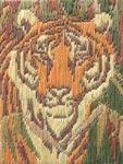 Вышивка миниатюры счетной гладью по схеме Тигр
